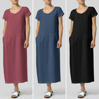 Womens Summer Short Sleeve Casual Vintage Beach Party Dresses Long Maxi Dress