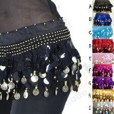 NEW Belly Dance Hip Scarf Belt Sequins &  Golden Coins 9 Colors