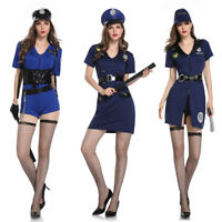 Women's Sexy Blue Police Dress Up Costume Cosplay Halloween Party Outfit