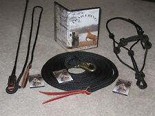 THOMEY NATURAL HORSE TRAINING SET~HIGH QUALITY~STICK, LEAD, HALTER & DVD~BLACK