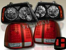 2003 2004 2005 2006 LINCOLN NAVIGATOR BLACK HEADLIGHTS JDM + RED LED TAIL LIGHTS