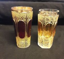 """2 Moser/Bohemian Tall Enameled Glasses 5-1/2"""""""