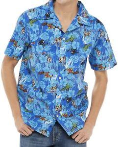 XL Marvel Avengers Hawaiian Tropical Button Shirt Black Widow Thor Hulk Disney
