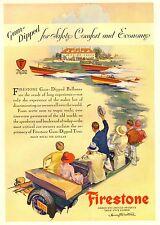 PUBBLICITA' 1928  PNEUMATICI FIRESTONE GUM DIPPED TIRES BALLOONS AUTO GOMMISTA