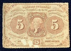 5c Fractional Currency Note * Five Cents * First Issue * Perforated Edges