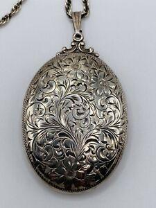 Beautiful Large Vintage BIRKS Sterling Silver Locket on Chain