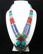 Boho tibetan handmade statement collar tribal ethnic red blue stone necklace