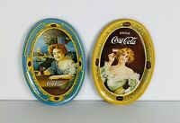 Vintage 1973 Coca Cola Coke Tin Serving Trays Advertisement Retro Decor Lot Of 2