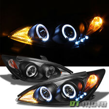 For Blk 2002-2006 Toyota Camry LED Halo Projector Headlights Lamps Left+Right