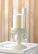 3 Hurricane Candle Holders w/ Elegant Ivory Lacy Jeweled Base Victorian Style