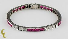 14K White Gold 11.00 carat Lab Ruby and Diamond Tennis Bangle Bracelet Size 7.25