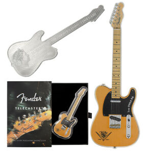 2021 Silver Fender Telecaster Guitar Shaped 1 oz Coin - 75th Anniversary