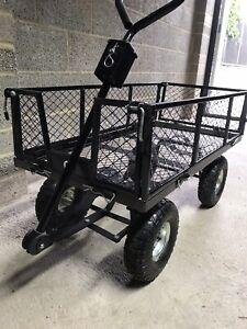 Large Metal Garden Camping Trolley 4 Wheel barrow Trailer Hand Truck Cart UK