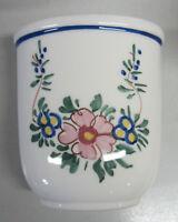 Bicchiere Porta Spazzolini da denti Ceramica bianca e Fiori Joss Accessori Bagno
