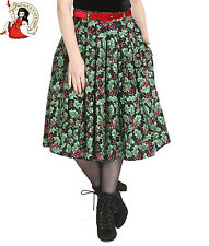 HELL BUNNY HOLLY BERRY SKIRT xmas CHRISTMAS 50s festive BLACK