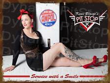30x40cm Pinup Miss Kiwi Blaize Pitstop Ampol Rustic Tin Sign