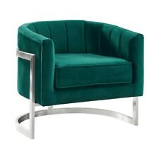 Armen Living Kamila Accent Chair, Green Velvet and Brushed SS - LCKMCHGREEN