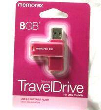 Memorex 8GB Swivel Travel Drive (pink) USB 2.0portable flash  never lose cap