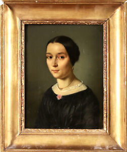 c. 1840 FINE FRENCH OIL ON CANVAS - PORTRAIT OF A YOUNG LADY - INSCRIBED