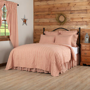 VHC Brands Farmhouse Twin Ticking Stripe Coverlet Red Sawyer Mill Bedroom Decor