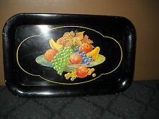 Vintage Small Tin Litho Metal  Snack Serving Tray BLACK  w/FRUIT -1950's