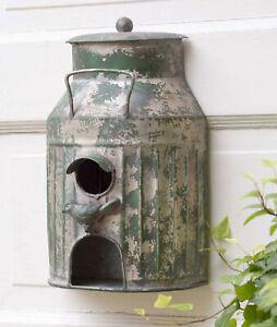 Rustic Green Milk Can Birdhouse Galvanized Metal Garden BirdFeeder Birdhouse New