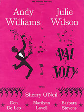 "Andy Williams (Signed) ""PAL JOEY"" Julie Wilson / Rodgers & Hart 1961 Program"