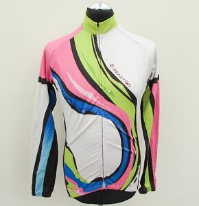 Multi-Coloured long-sleeved cycling jersey size M pink blue green Realtoo