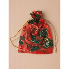 NEW 12 Red organza gift bag with christmas holly print wedding favour 15x11cm