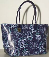 NEW Genuine Leather Handbag Blue 1526 Made in Italy Floral Tote flowers bag