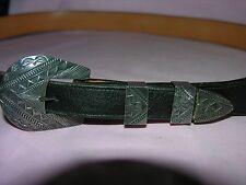 Anderson Parkett Sterling Belt Buckle Ladies WIth L.M. Easterling Leather Belt