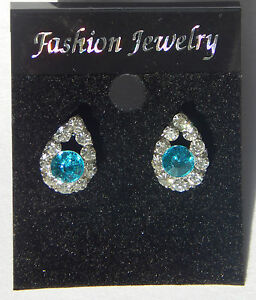 Silver Coloured Clear & Turquoise Crystal Droplet Stud Earrings