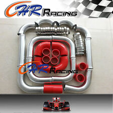 "3"" INCH 76mm Aluminum Universal Intercooler Turbo Piping pipe Kit +red hose kits"