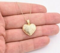 Heart Love Reversible Diamond Cut Pendant Chain Necklace Real 14K Yellow Gold