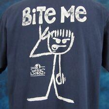 vtg 90s STICK WORLD BITE ME CARTOON FADED T-Shirt XL figure grunge rock skate