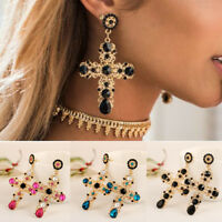 Women Luxury color Crystal Gold Cross Long Dangle Vintage Baroque Style Earrings