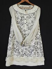 Melange Leanne Tunic Dress Silk Chiffon Sleeves 3D Floral Trim Ivory SizeS