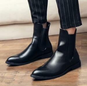 Men Chelsea Ankle Boots Leather Shoes Casual Trendy Plus Black Slip-on Round Toe