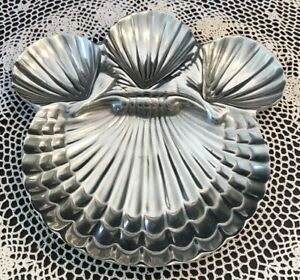 VTG~Pave Co. Pewter Gallery~Lg Pewter 4 Section Clamshell Serving Dish~Boerne TX