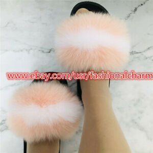 Real Fox Fur Sliders Slippers Womens Slides Beach Sandals Indoor Outoor Shoes