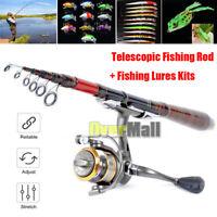 Carbon Fiber Telescopic Fishing Rod Travel Spinning Rod Pole +Fishing Lures Kits