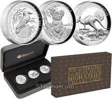 Australia 2015 High Relief Piedfort 3 Coin Silver Proof Set Kangaroo Koala Kooka