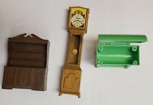 Vtg. Miniature Doll House Lot Plastic Grandfather clock China buffet & BBQ Grill