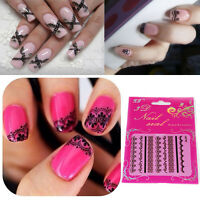 2pcs Big SALE Black 3D Lace Nail Art Manicure Tip Stickers DIY Decoration Decals