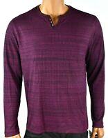 Alfani Mens Knit Henley Shirt New L XL XXL Purple Long Sleeves Ribbed Winter