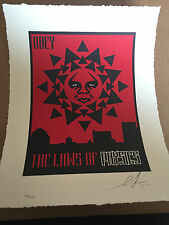 """Shepard Fairey Obey """"Laws of Physics"""" SIGNED S/N Letterpress LE 200! Sold Out !!"""