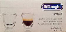 Set of 2 Delonghi Double Wall  Thermo Espresso Glasses 2oz, New