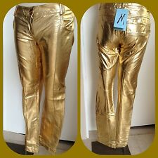 new $138 MARCIANO GUESS GOLD METALLIC LAME dress JEANS pants 6 rare