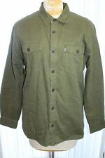 Levi's Shirt Jacket L Olive Green Button Front Fleece Lined Work Coat