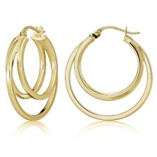 Gold Flash Sterling Silver Square-Tube Triple Round Hoop Earrings